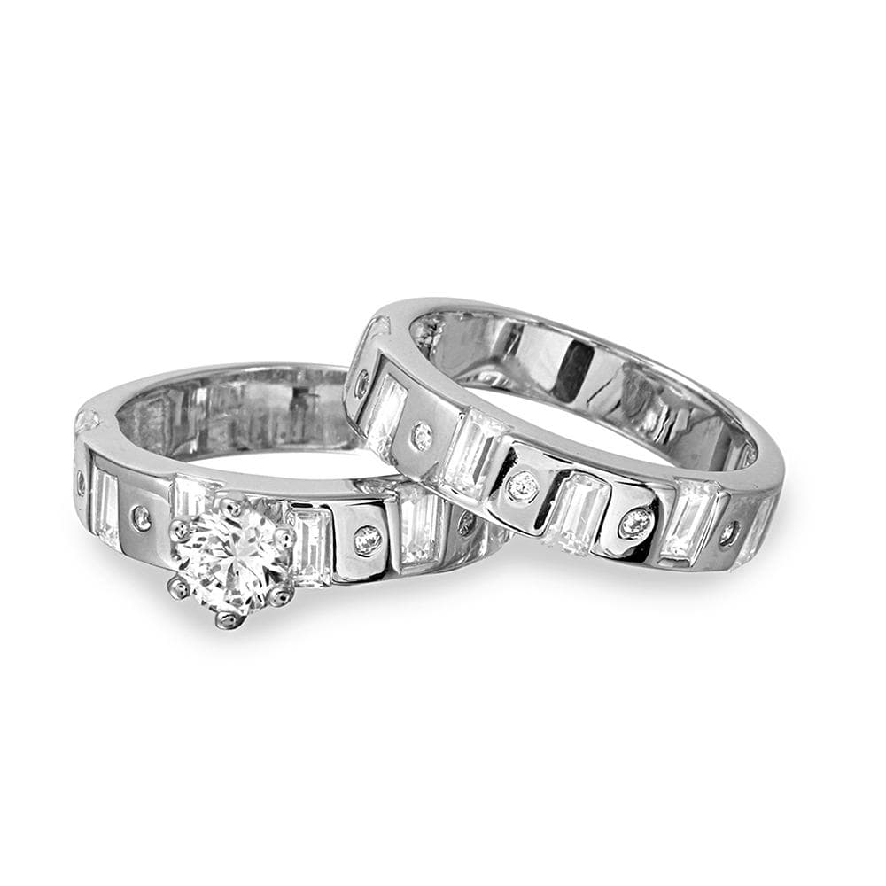 Bridal Ring Set 0.80 Ct Round Cut Diamond Bridal Set Engagement Ring 14k White Gold Finish