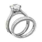 Micro Pave Shank Bridal Engagement Set