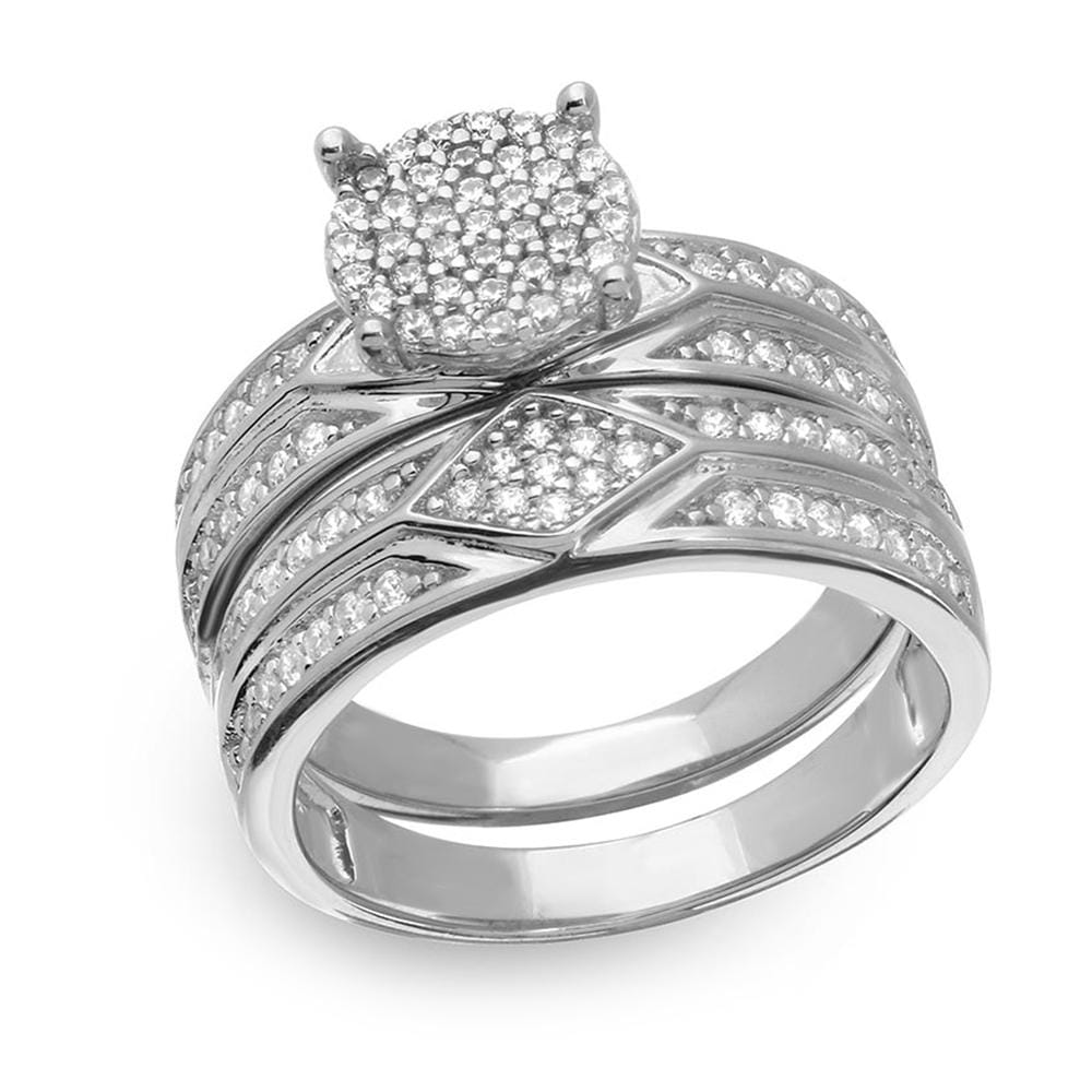 Classy Bridal Ring Halo Engagement Set