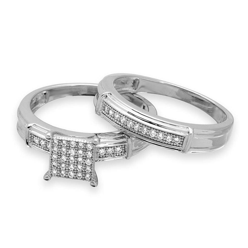 Halo Engagement Rings Bridal Set