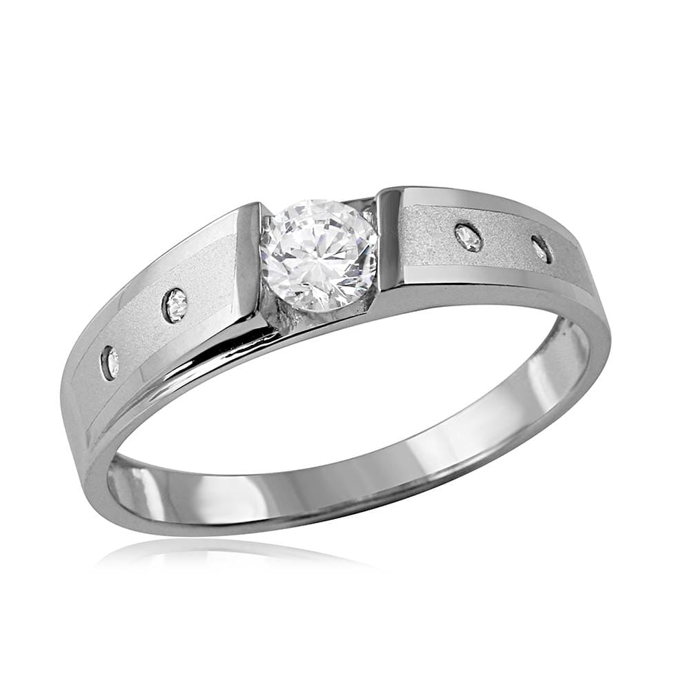 Bridal Ring Set 14k White Gold Finish Wedding Band Engagement Ring Set Round Cut 1.00 Ct Diamond