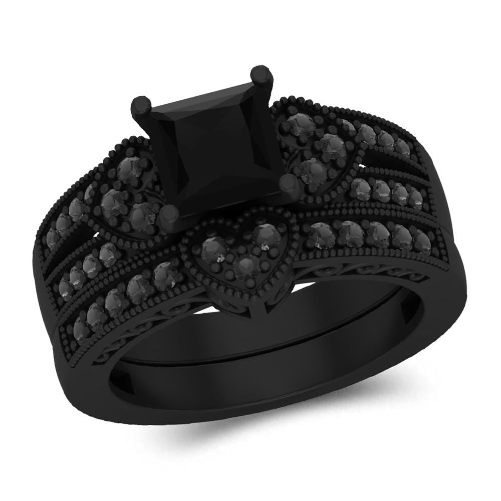 Bridal Ring Set Black Rhodium Wedding Engagement Bridal Set For Women's