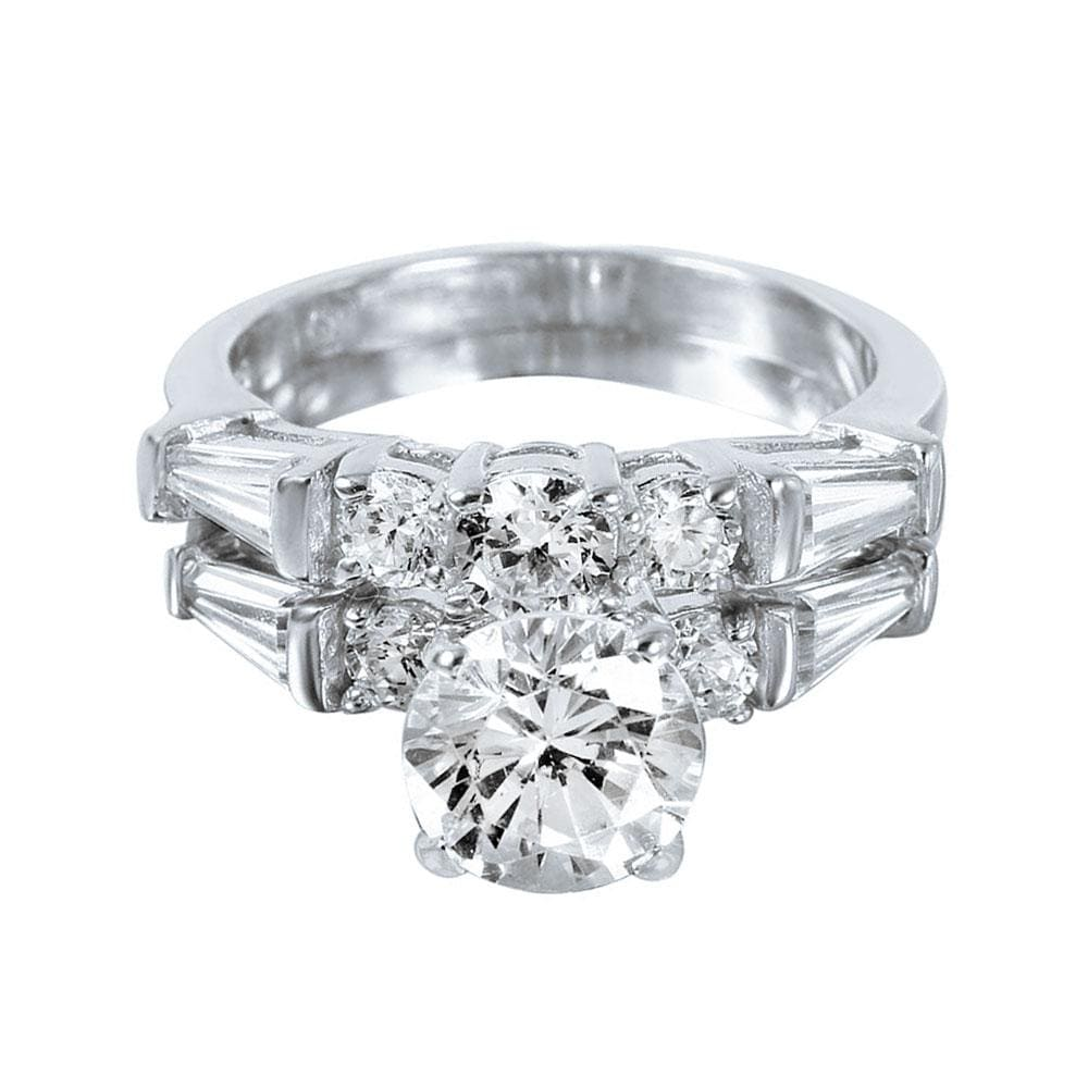 Bridal Ring Set Brilliant Round Cut 2.20 Ct Diamond Bridal Engagement Set 14k White Gold Finish
