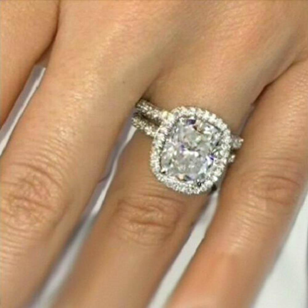 Bridal Ring Set Halo Engagement Wedding Ring Set