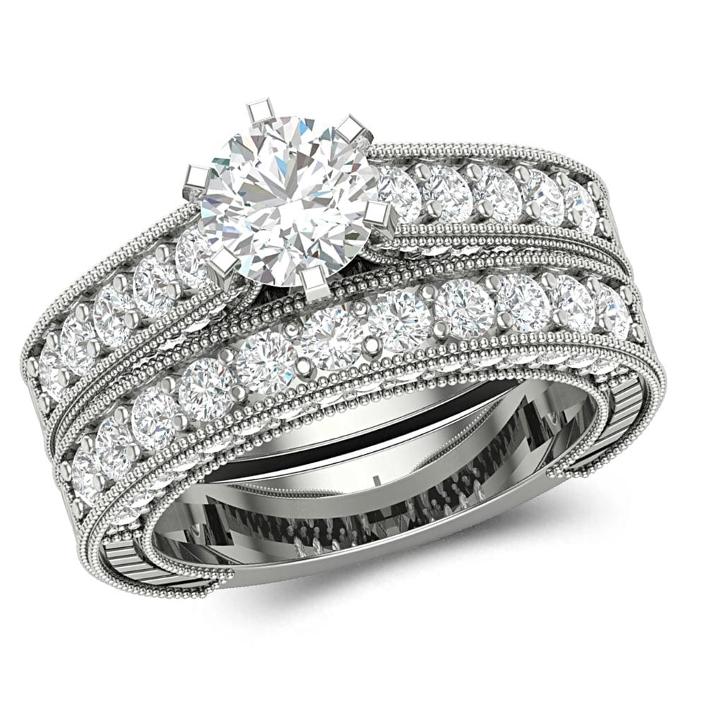 Round Cut Engagement and Wedding Bridal Ring Set