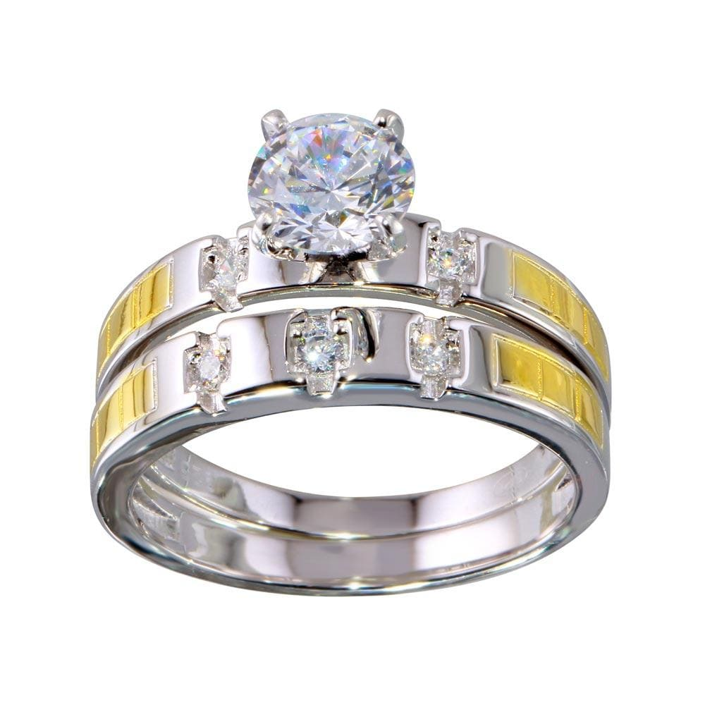 Bridal Ring Set Two-Toned Stackable Diamond Double Ring