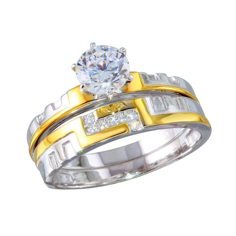 Two-Toned Stackable Diamond Double Rings