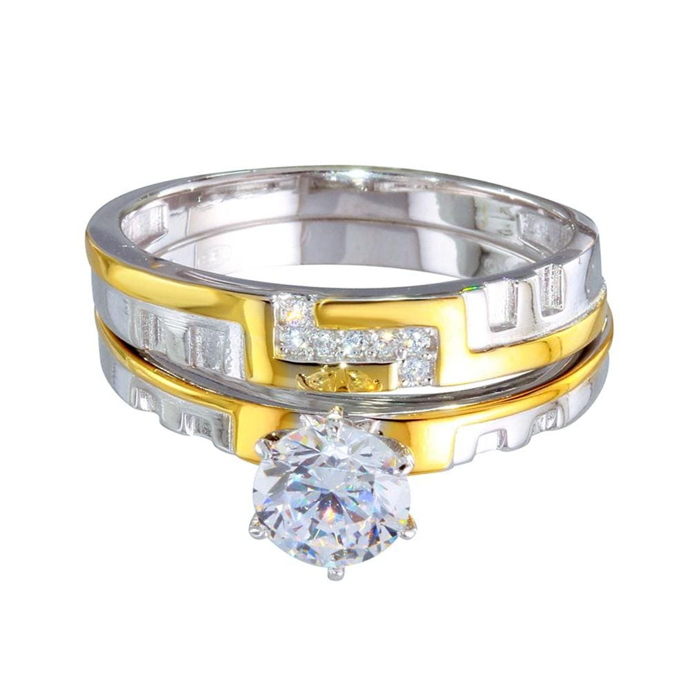 Bridal Ring Set Two-Toned Stackable Diamond Double Rings
