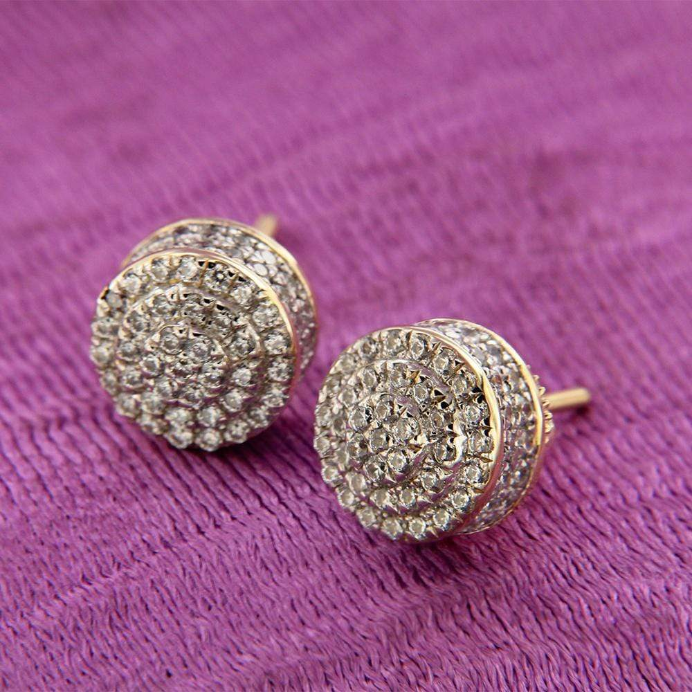 Earrings 10K Real Yellow Gold Men's Ladies Cube Circle Studs