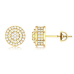 10K Yellow Gold Men's Ladies Cube Circle Studs