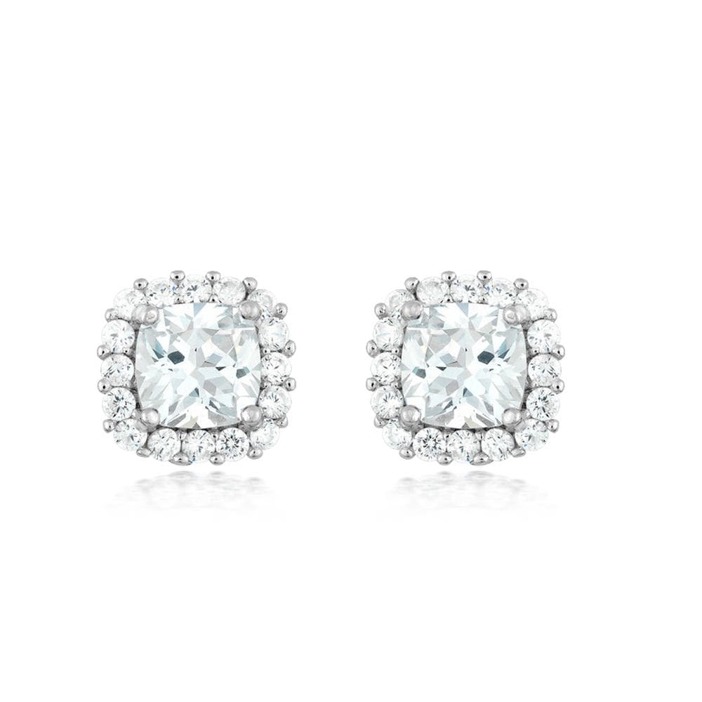 6mm Square Halo Stud Earrings