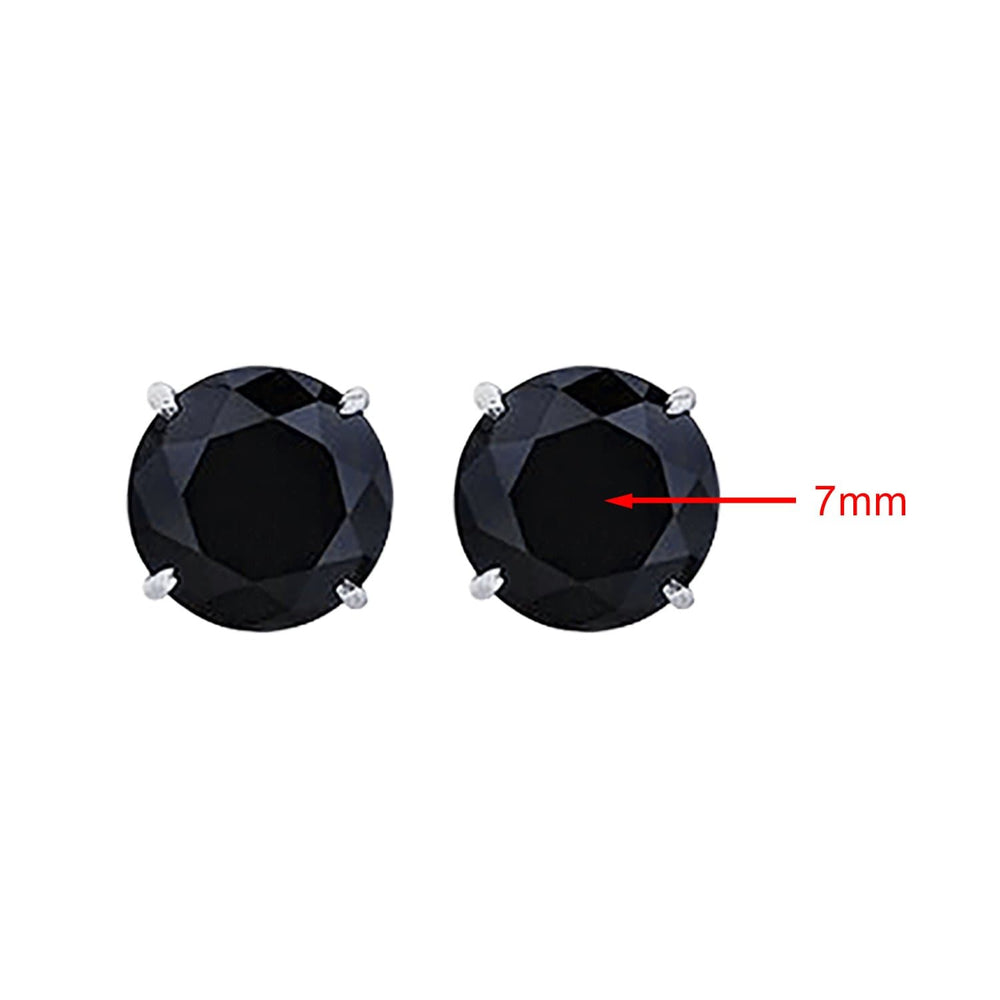 Earrings 7mm Black Diamond Stud Earrings