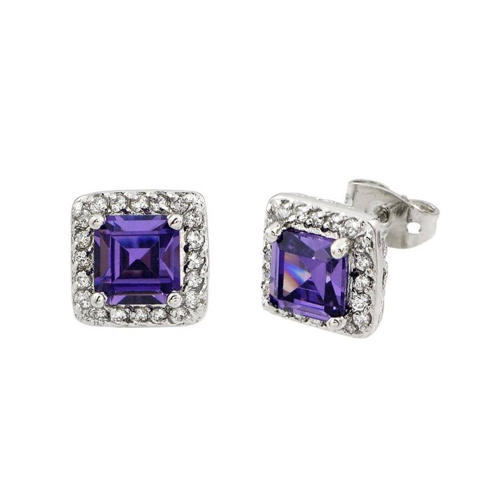 Asscher Cut Amethyst Earrings