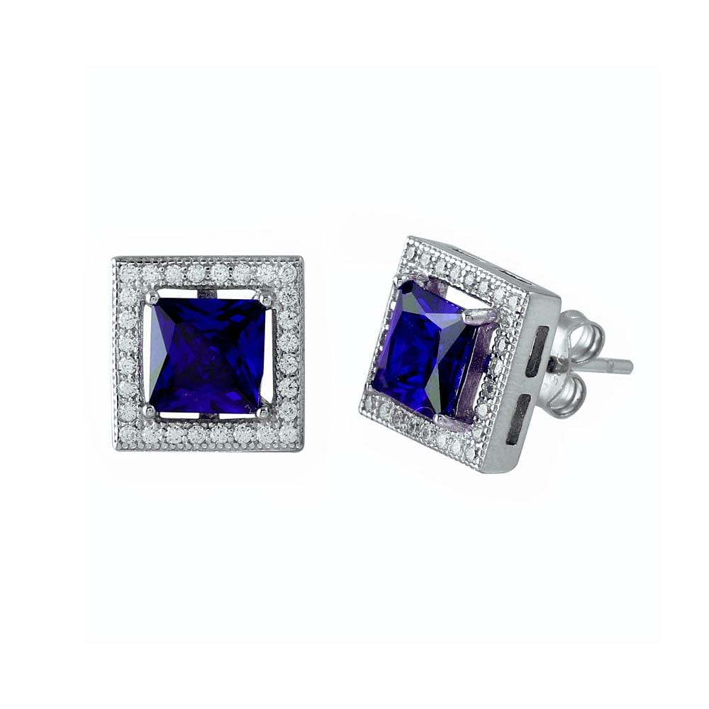 Princess Cut Blue Sapphire Earrings