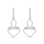 Curled Oval & Heart Dangling Earrings