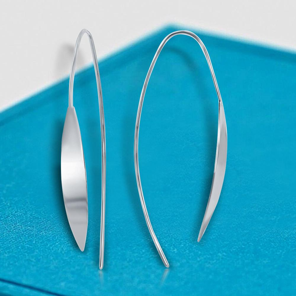 Earrings Curved Pointed Flat Bar Threader Earrings Curved Pointed Flat Bar Threader Earrings Sterling Silver