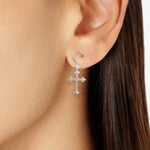 Earrings Flat Cross Earrings Flat Cross Earrings Sterling Silver