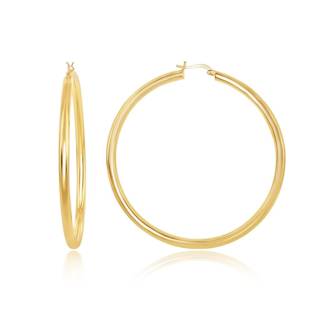 Earrings Gold Finished 4x70mm Hoop Earrings Gold Finished 4x70mm Hoop Earrings Sterling Silver