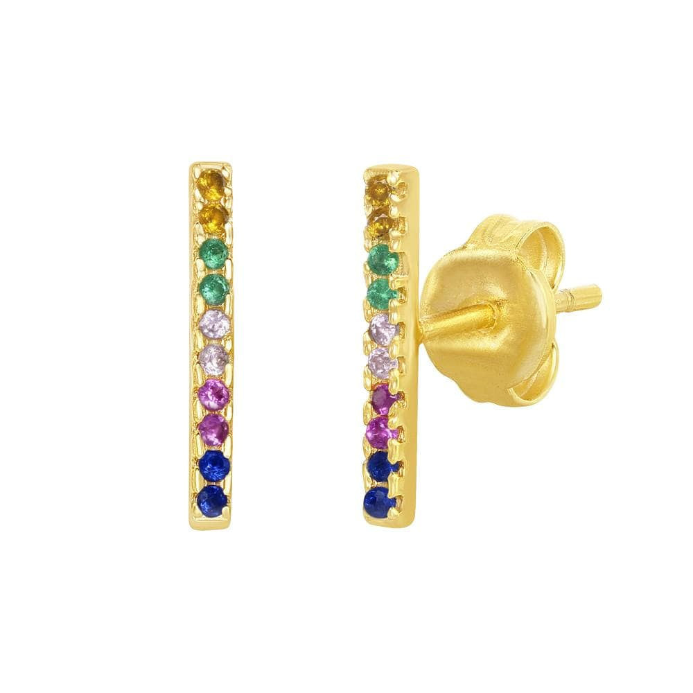 Earrings Gold Finished Rainbow Bar Stud Earrings Gold Finished Rainbow Bar Stud Earrings Sterling Silver