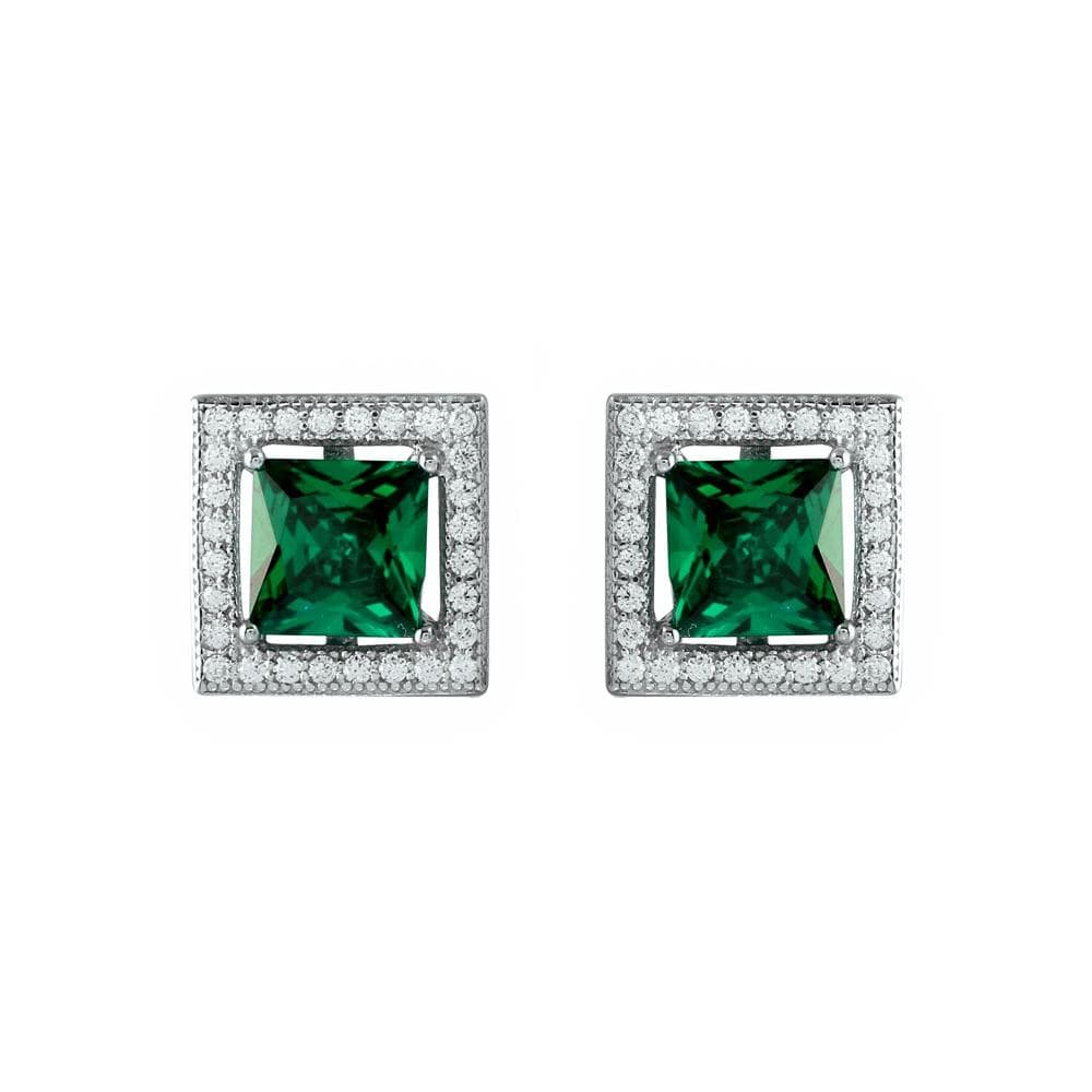 Earrings Green Halo Stud Earrings Shape