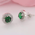 Earrings Halo Emerald Stud Earrings