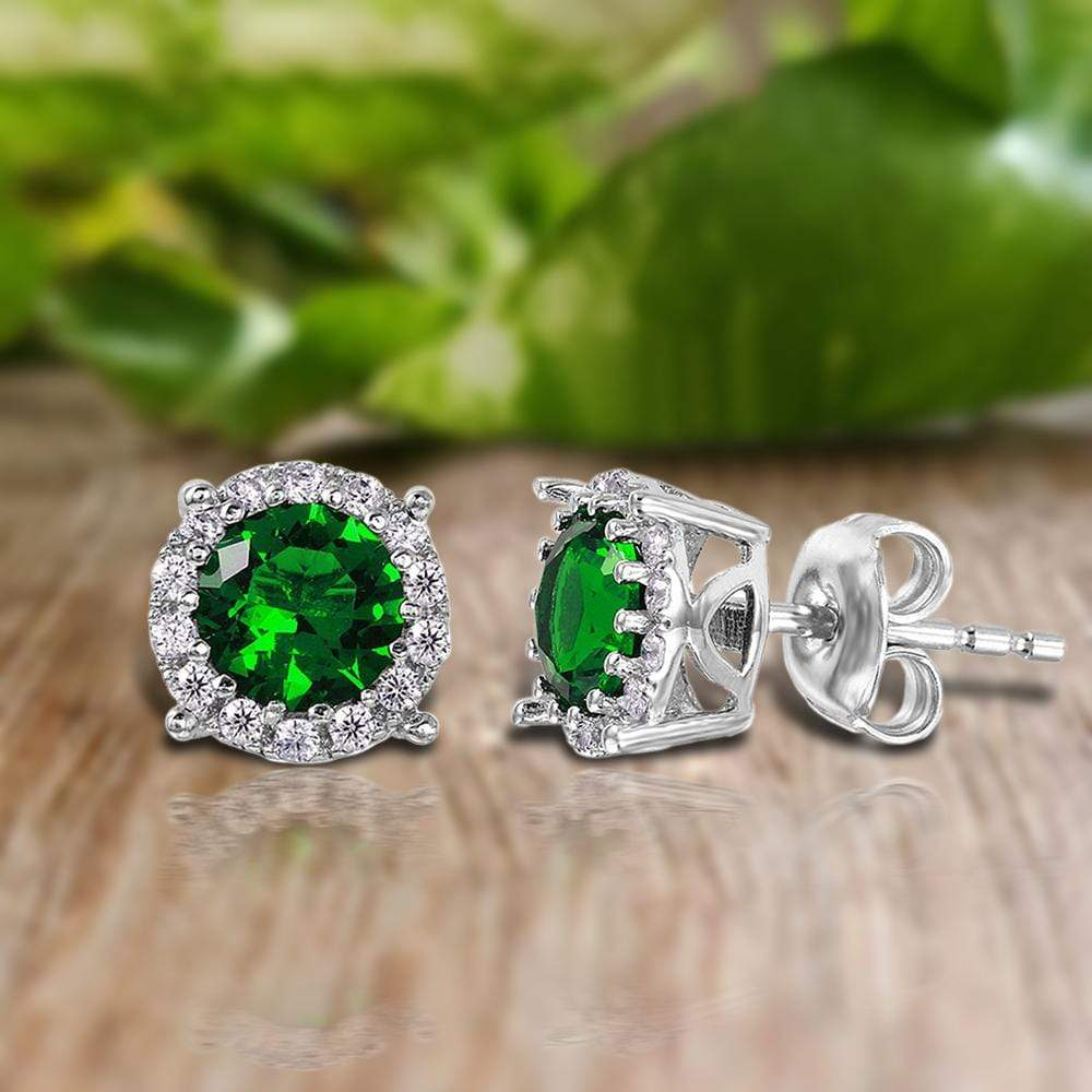Earrings Halo Studs with Emerald