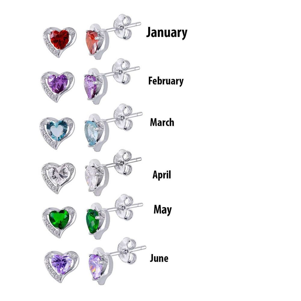 Earrings Heart Shape Birthstone Stud Earrings Heart Shape Birthstone Stud Earrings 925 Sterling Silver