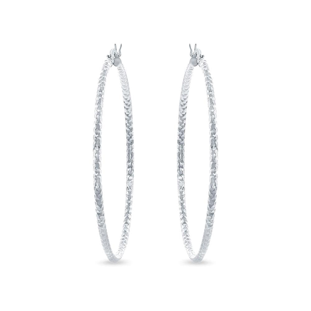 Large 50mm Diamond Cut Hoop Earrings