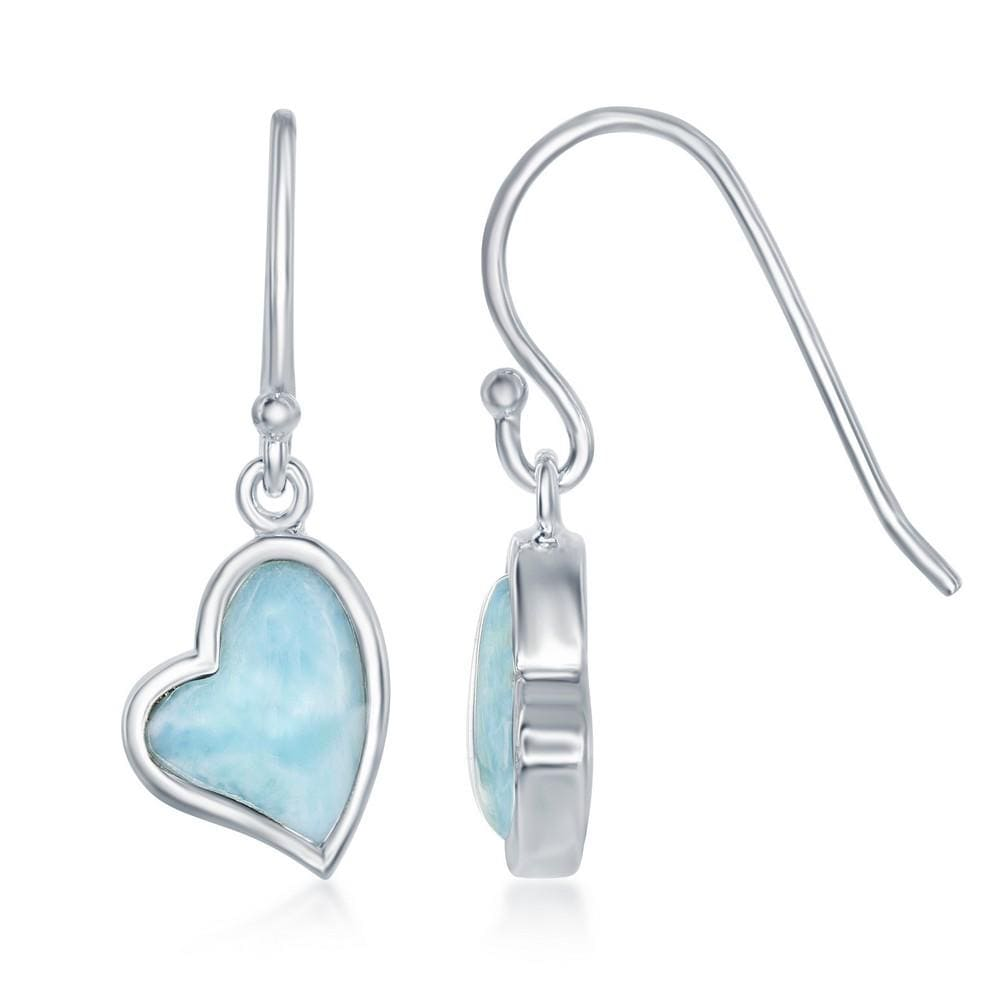 Larimar Heart Shape hook Earrings
