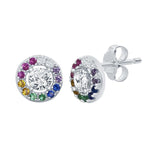 Earrings Multi Stone Halo Stud Earrings