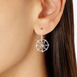Earrings Open Circle with Center Flower Earrings