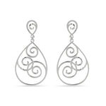 Open Teardrop Swirl Design Earrings