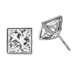 Earrings Princess Cut Diamond Bezel Set Stud Earrings