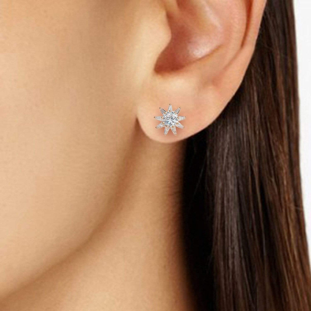 Earrings Push Back Sun Stud Earrings