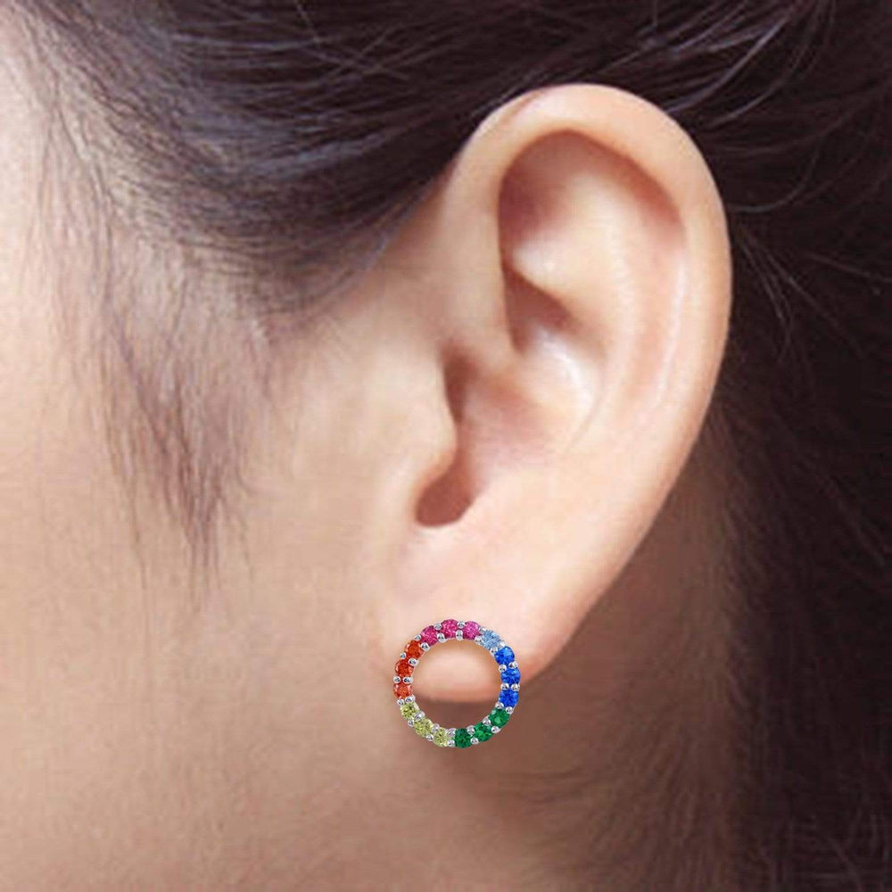 Earrings Rainbow Open Circle Stud Earrings
