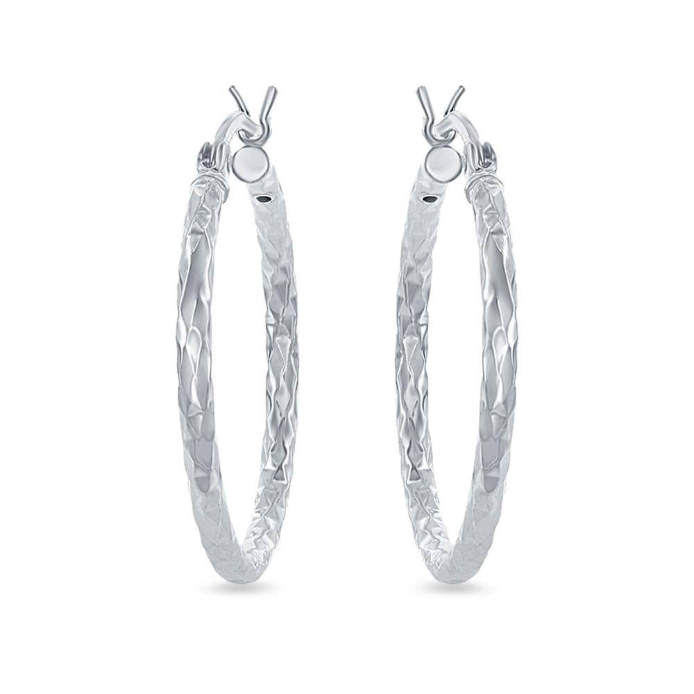 Round 25mm Diamond Cut Hoop Earrings