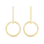 Round Hoop Long Bar Earrings