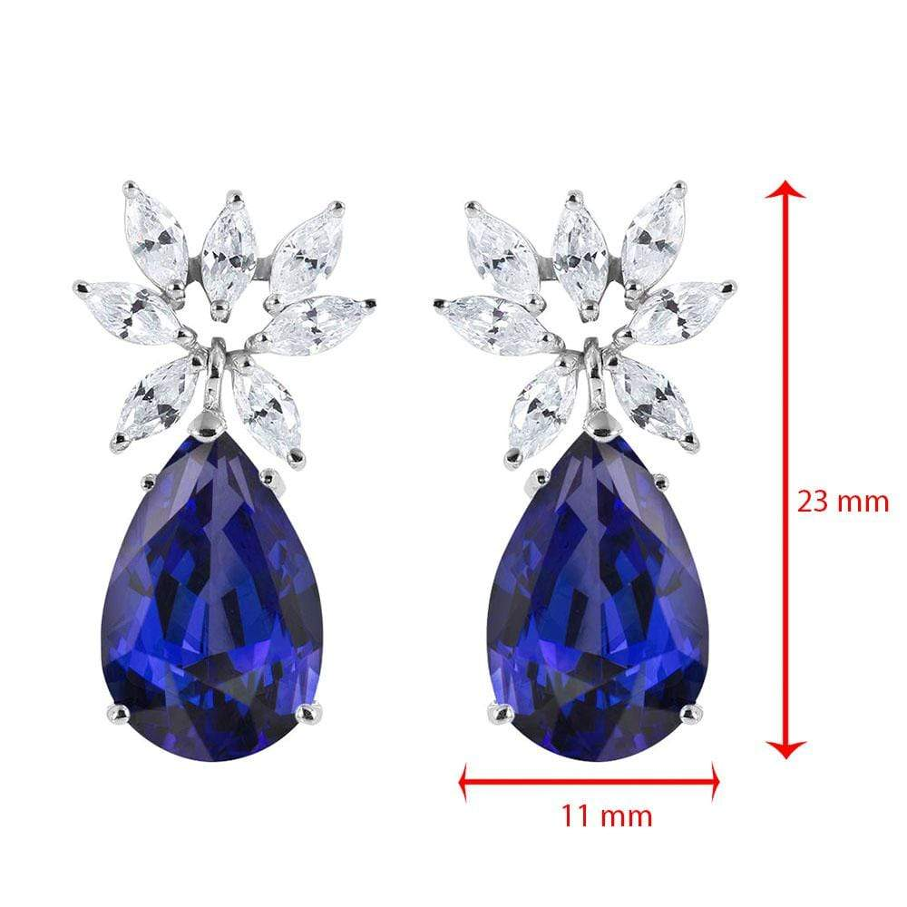 Earrings Sapphire and Diamond Marquise Dangling Stud Earrings