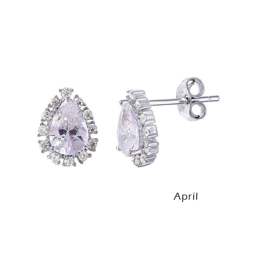 Earrings Teardrop Halo Diamond Birthstone Earrings April