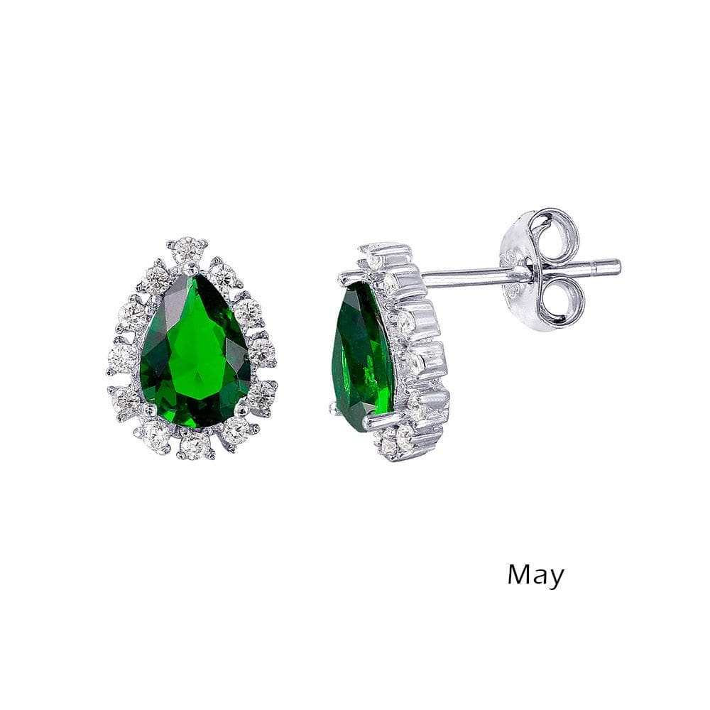 Earrings Teardrop Halo Diamond Birthstone Earrings May