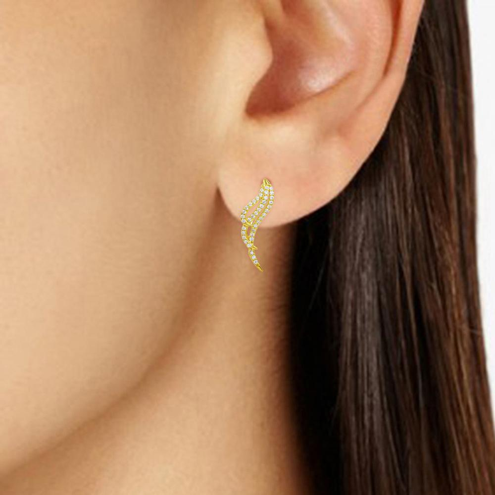 Earrings Wing Earrings with Diamond