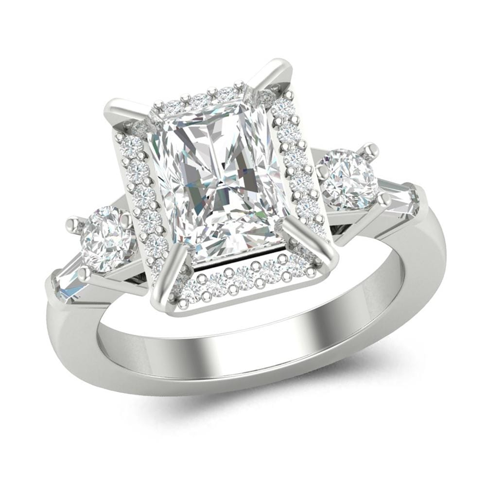 Emerald Cut Halo Engagement Ring For Women's