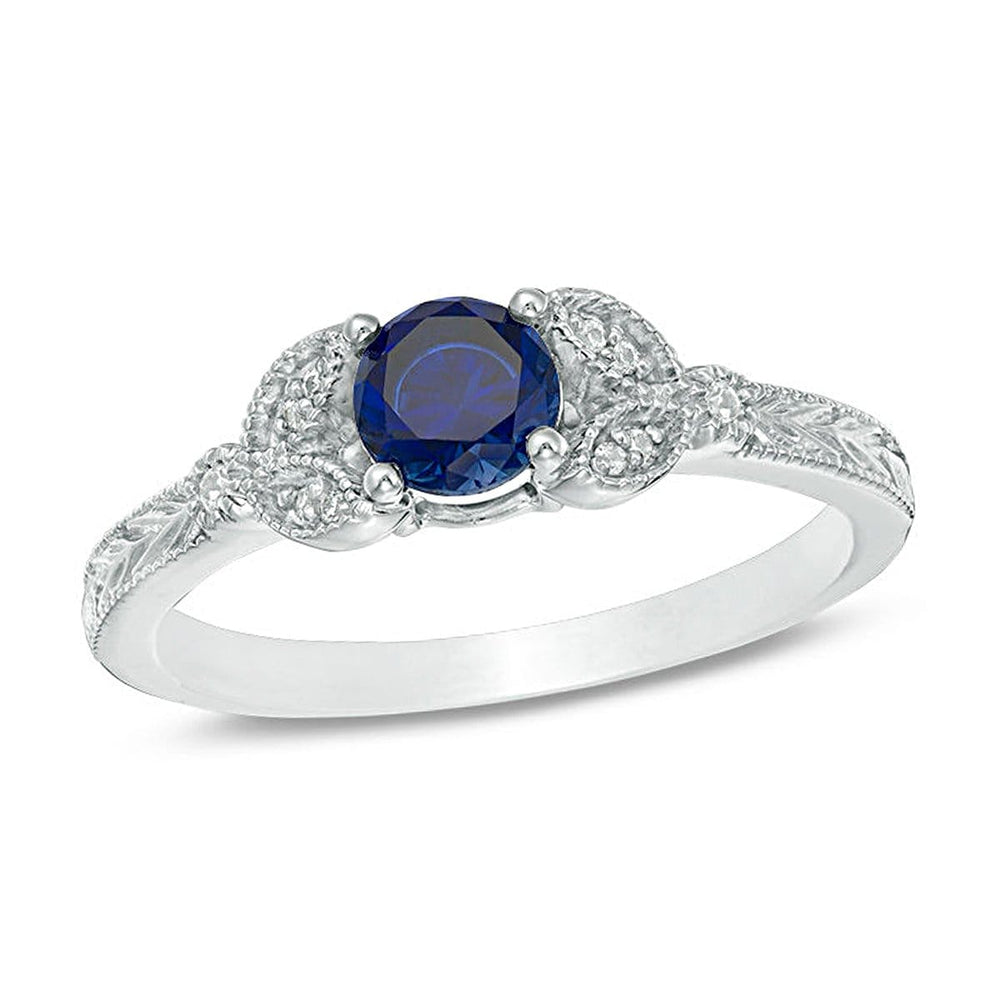 Blue Sapphire Promise Rings Solid 10k White Gold