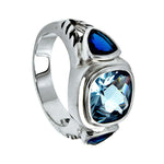 Engagement Rings 14k White Gold Finish 2.50 Ct Blue Sapphire Three Stone Engagement Ring