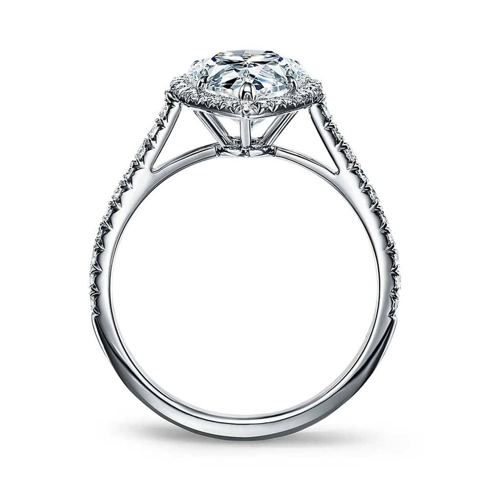 Engagement Rings 2.25 Ct Pear Cut Diamond Halo Engagement Ring 14k White Gold Finish