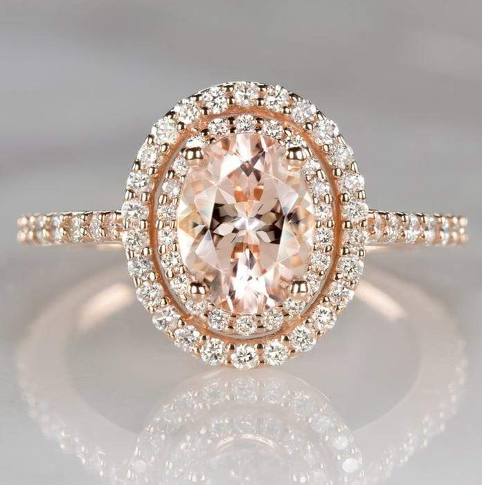 Double Halo Engagement Ring Solid 14k Rose Gold