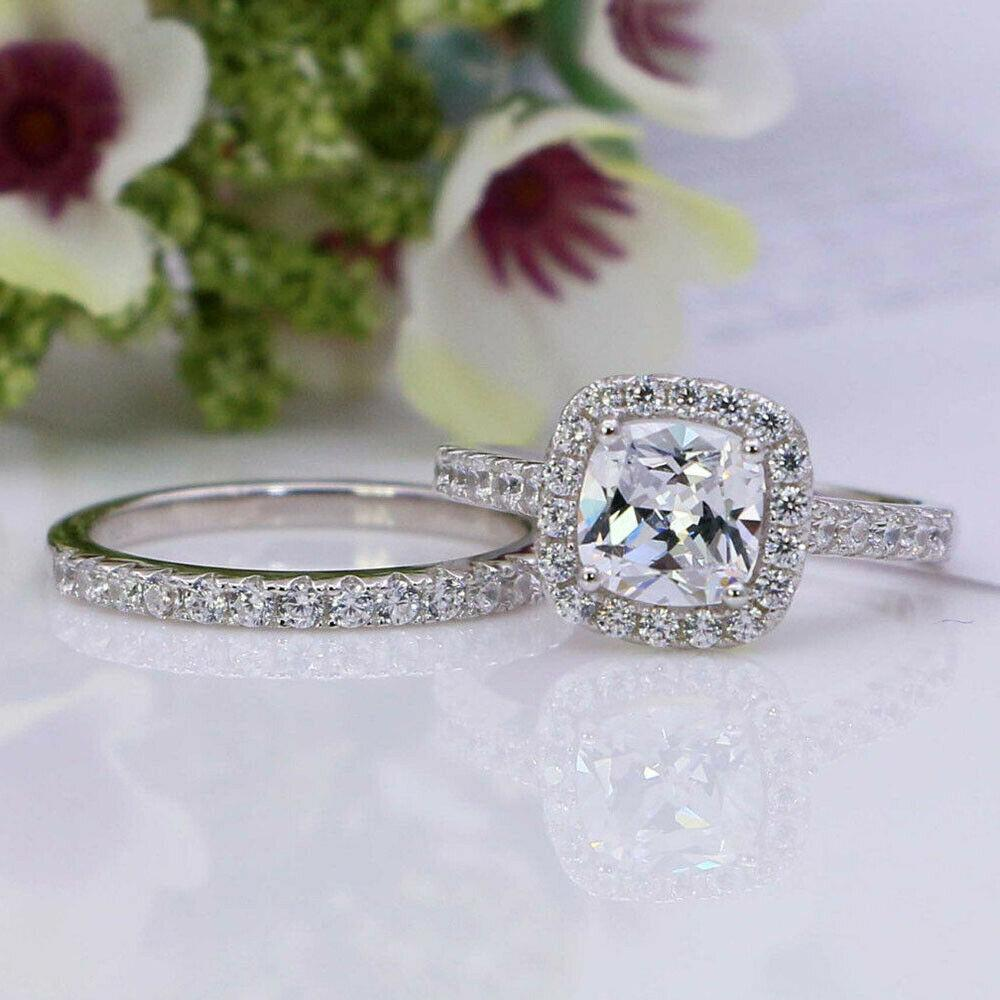 Cushion Cut Engagement Bridal Set