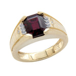Men's Red Garnet Wedding Band Ring
