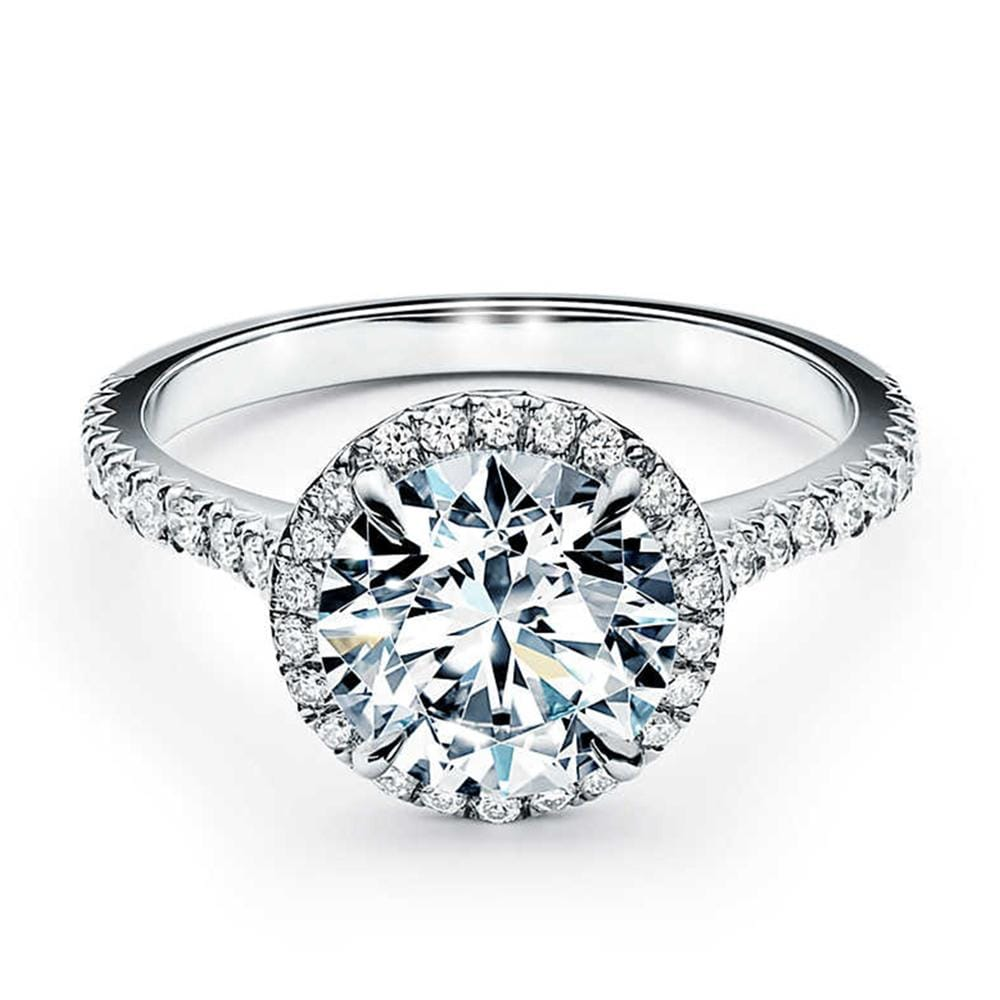 Halo Solitaire Engagement Ring In Solid 10k White Gold 2.50 Ct Round Diamond