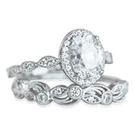 Halo Vintage Engagement Wedding Band Ring Set